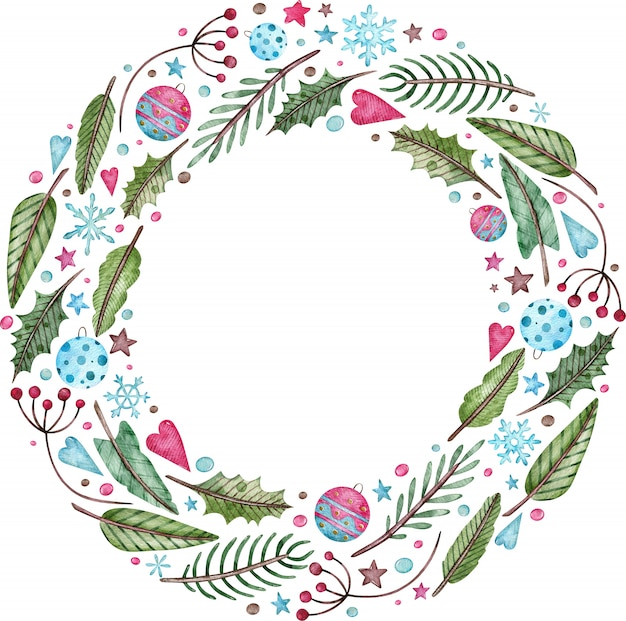 Aquarel kerstmis en nieuwjaar krans - dennenboom, maretak en bessen. rond groen winterframe.