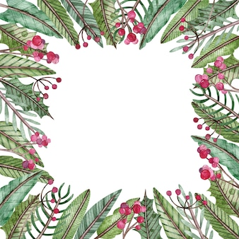 Aquarel kerstmis en nieuwjaar vierkante frame