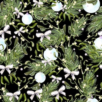 Aquarel kerstpatroon met bomen en maretak illustratie