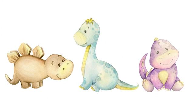 Aquarel kleine dinosaurus set
