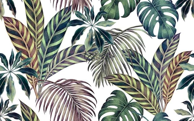Aquarel kleurrijke tropische bladeren naadloze patroon achtergrond.