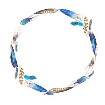 Aquarel kleurrijke veren frame.