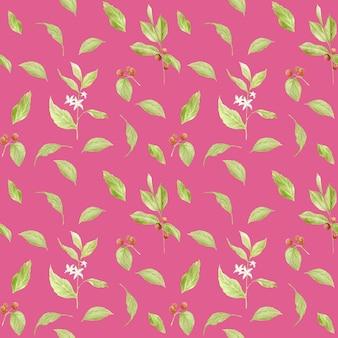 Aquarel koffie naadloze patroon. handgeschilderde takken van koffie, rode koffiebonen, bloemen