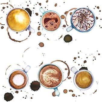 Aquarel kopjes koffie met koffie cirkels en spatten rond, bovenaanzicht.