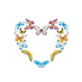 Aquarel krans met kleurrijke vlinders