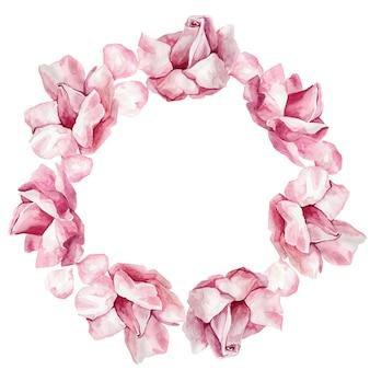 Aquarel krans met tak van delicate roze bloeiende bloemen, knop en bladeren geïsoleerd op wit