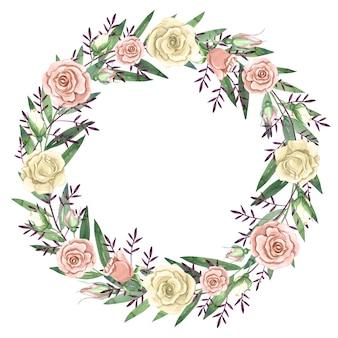 Aquarel krans met witte en roze rozen illustratie