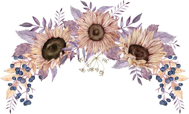 Aquarel krans met zonnebloemen, blauwe bessen en paarse bladeren.