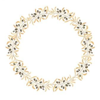 Aquarel krans van goud kleur van de takken, bladeren en bessen van de olijfboom