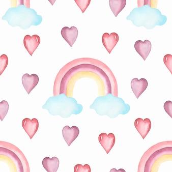Aquarel kwekerij naadloze patroon met handgeschilderde regenbogen.