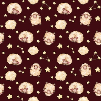 Aquarel lammeren, sterren naadloze patroon