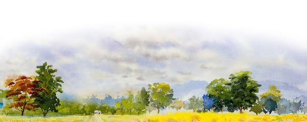 Aquarel landschap schilderij panorama