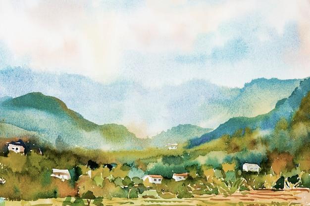 Aquarel landschap schilderij van een kleurrijk dorp en rijstvelden in de bergen.
