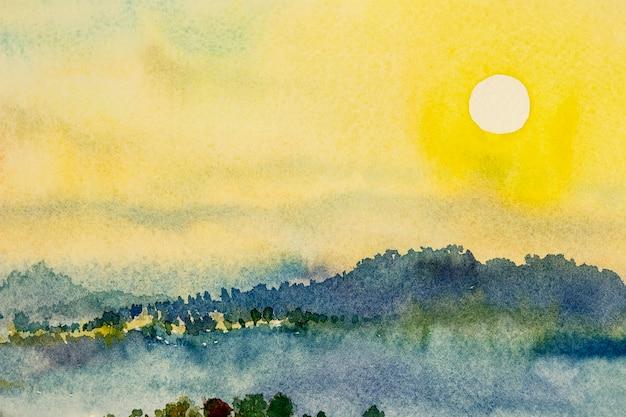 Aquarel landschapsschilderijen kleurrijke berg zonsondergang en lucht wolk in abstracte achtergrond schilderen abstracte landschap lente in lucht achtergrond handgeschilderde natuur milieu illustratie ontwerp