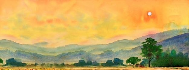 Aquarel landschapsschilderkunst kleurrijk van dorp, berg en weide in het panoramische uitzicht en emotie landelijke samenleving, natuur lente op hemelachtergrond. handgeschilderde semi abstracte illustratie in azië.
