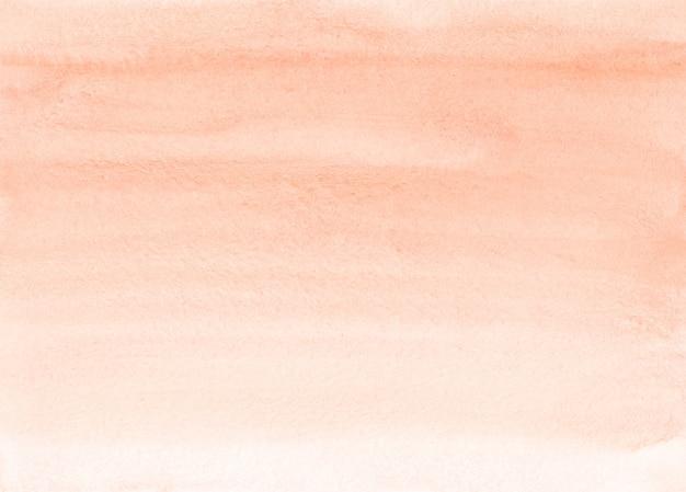 Aquarel licht koraal kleurovergang achtergrondstructuur. penseelstreken op papier. perzik kleur achtergrond.
