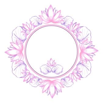 Aquarel lotus. rond kader voor uitnodigingen