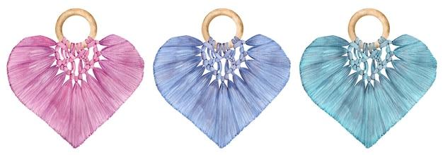 Aquarel macrame harten - roze, blauw, groen