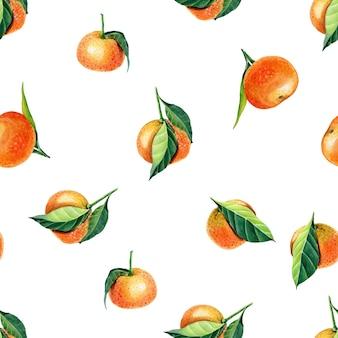Aquarel mandarijn met bladeren