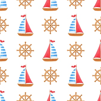 Aquarel mariene naadloze patroon met houten schip, stuurwiel.