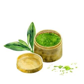 Aquarel matcha thee in pot geïsoleerd