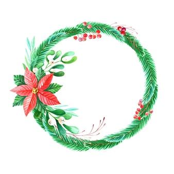 Aquarel merry christmas-krans met rode poinsettia