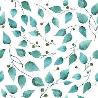 Aquarel mint smaragdgroene bladeren met stengel en bessen naadloos patroon