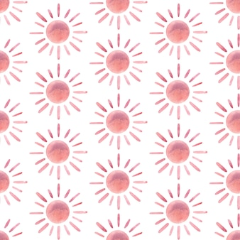 Aquarel moderne abstracte zon naadloze patroon handgeschilderde kinderkamer schattige boheemse print