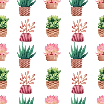 Aquarel naadloos patroon met cactussen in potten