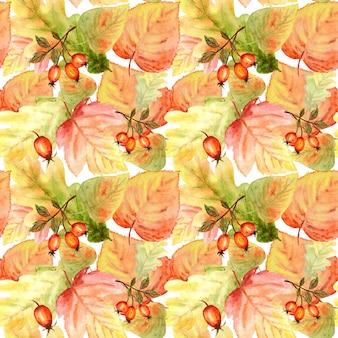 Aquarel naadloos patroon met esdoornblad eikenbladeren en andere bosbladeren takken achtergrond