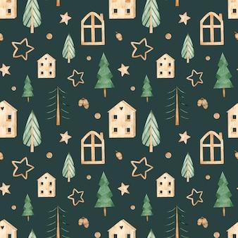 Aquarel naadloos patroon met scandinavische huizen en kerstbomen. hygge winterstemming.