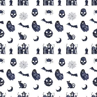 Aquarel naadloos patroon met verschillende halloween-thema-elementen