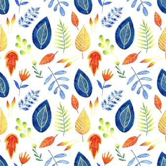 Aquarel naadloos patroon van heldere decoratieve bladeren op een witte achtergrond