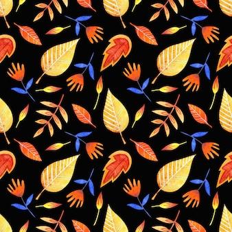Aquarel naadloos patroon van heldere decoratieve bladeren op een zwarte achtergrond