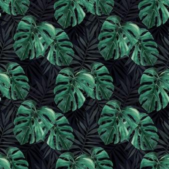 Aquarel naadloos patroon van tropische bladerenmonstera en palm