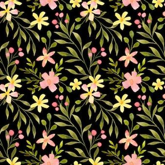 Aquarel naadloze bloemmotief hand getekend delicate botanische herhaal print op zwart
