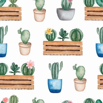 Aquarel naadloze cactussen bloemenpatroon