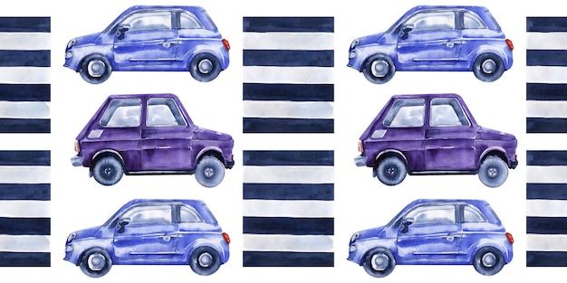 Aquarel naadloze grens met auto's, verkeersborden, kaarten en verkeerslichten