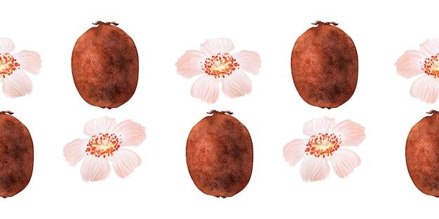 Aquarel naadloze grens met bloemen, rijp fruit, takken en bladeren van een kiwiboom