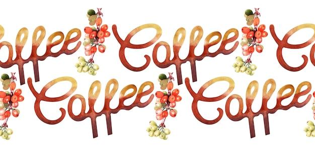 Aquarel naadloze grens met koffieattributen en koffie