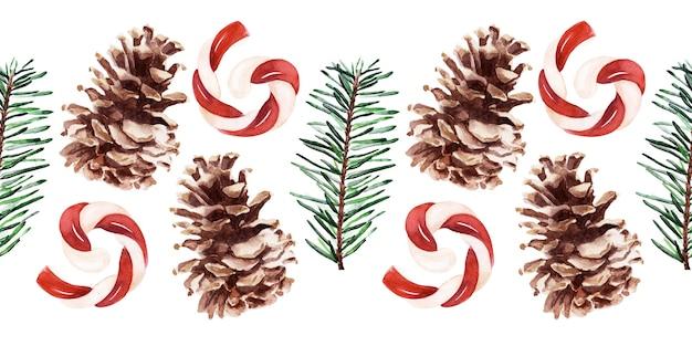 Aquarel naadloze grens met verschillende feestelijke attributen van nieuwjaarsvakantie