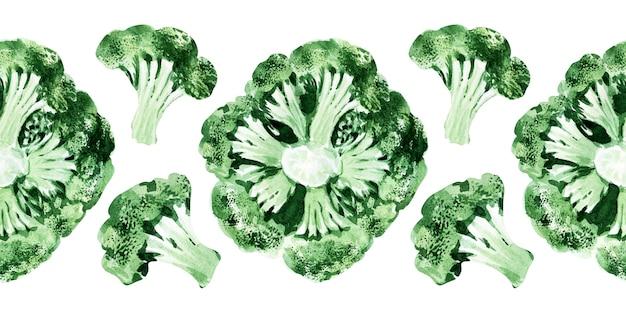 Aquarel naadloze grens met verschillende soorten kool. broccoli