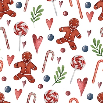 Aquarel naadloze kerst patroon met een versierde kerst snoep planten en harten