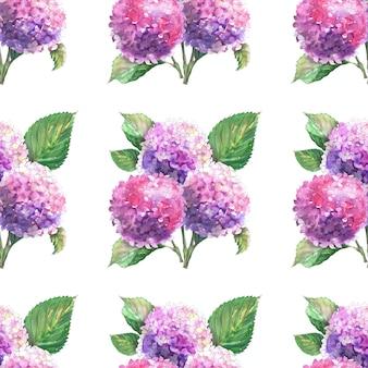 Aquarel naadloze patronen met bloeiende hortensia takken. heldere bloeiwijzen