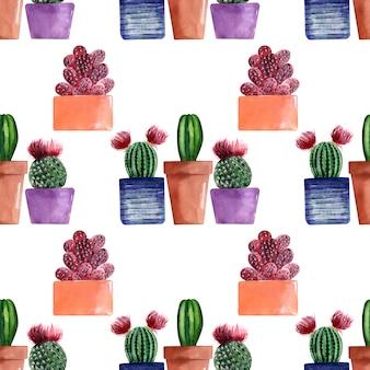 Aquarel naadloze patronen met verschillende soorten cactussen in veelkleurige potten