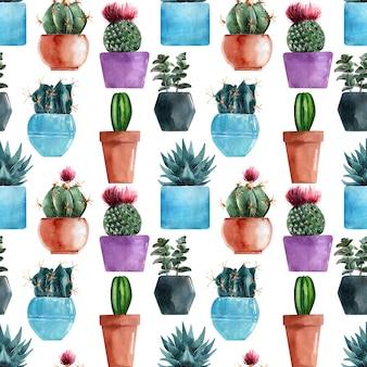 Aquarel naadloze patronen met verschillende soorten cactussen