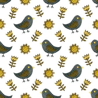Aquarel naadloze patroon happy halloween vogels bloemen op een witte achtergrond