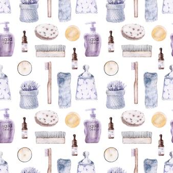 Aquarel naadloze patroon met accessoires voor de badkamer.