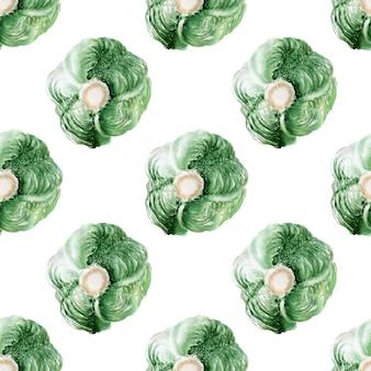 Aquarel naadloze patroon met afbeeldingen van verschillende soorten kool. koppen en bladeren van peking en witte kool