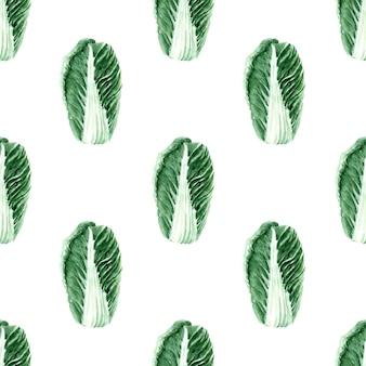 Aquarel naadloze patroon met afbeeldingen van verschillende soorten kool